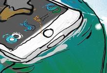 Schilderij surfen op iPad
